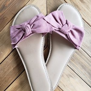 Time and Tru | Mauve Pink Bow Slider Sandal Beige